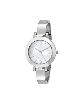 Nine West Women's NW-1631SVSB Silver-Tone Sunray Dial and Bangle Watch