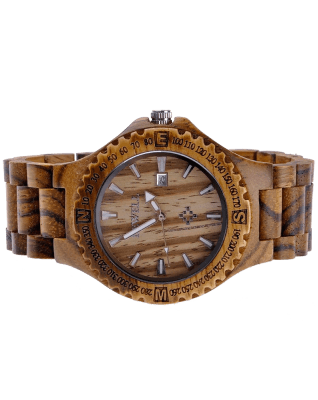 MEKU Handmade Wooden Wrist Watches Quartz with Solid Natural Zebrawood + Date Calendar