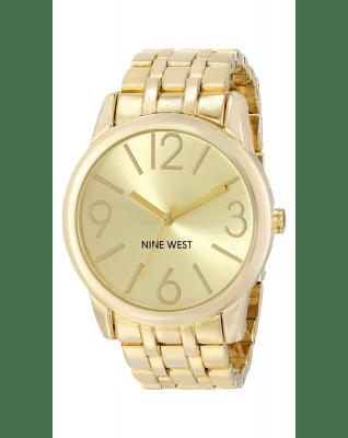 Nine West Women's NW-1578CHGB Champagne Dial Gold-Tone Bracelet Watch