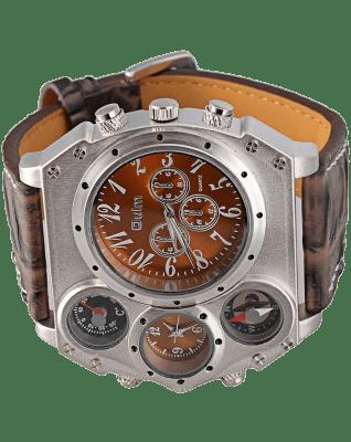 Oulm Analog Dark Brown Leather Strap Four Sub-dials Men Watch