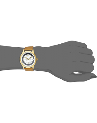 Winchester Swarovski Crystal-Accented 23k Gold-Layered Watch with Champagne Leather Band