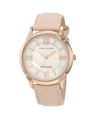 Rose Gold-Tone Watch with Swarovski Crystals and Leather Band
