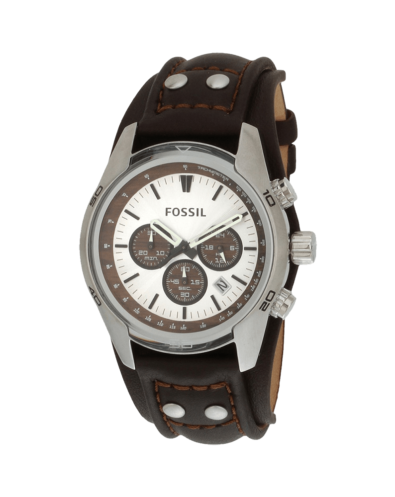 Fossil Men's Stainless Steel Chronograph Watch with Genuine Brown Leather Strap
