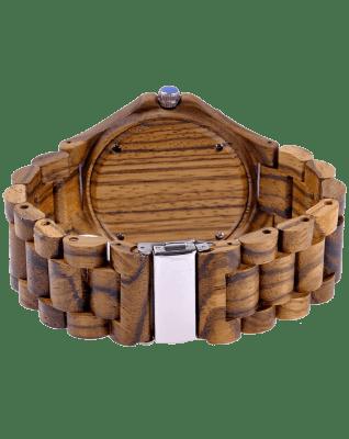 MEKU Handmade Wooden Wrist Watches Quartz with Solid Natural Zebrawood + Date Calendar